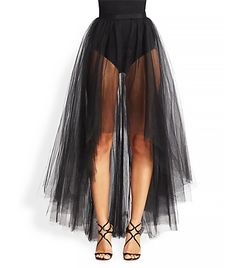 @Who What Wear - ML Monique Lhuillier Tulle Overlay Skirt ($198) This asymmetric tulle layer can be worn over a body-con dress (for evening) or over jeans (for the weekend).