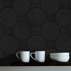 The Circle & Losange Diamond Bundle installed as a kitchen backsplash.