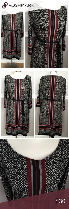 NWT 3/4 Sleeve Dress Beautiful pattern black gray with accent of dark red. Very soft material. 96% polyester 4% spandex Machine wash Mlle Gabrielle Dresses