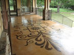 Stunning concrete graphic is the highlight of this patio. ModernCrete Austin, TX