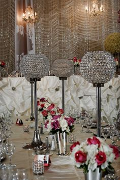 sparkly center pieces for a winter wedding  LOVE!!!