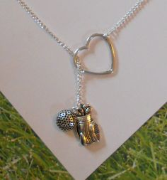 Golf Necklace with Heart, golf ball and golf bag