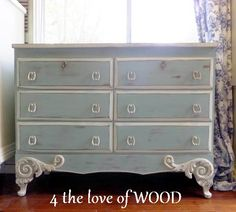 4 the love of wood you have to see the old plain brown dresser she turned into this french provincial (remember you can add molding and legs to plain dressers)