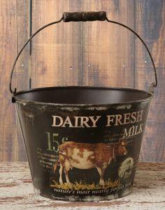 Country Black Tin Dairy Fresh Milk Cow Decor Pail w Handle Nice | eBay