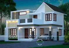 Duplex India house in 3800 square feet square meter) square yard). Image Via: Square feet details Ground floor : 1900 Bungalow House Design, House Front Design, Modern House Design, Yard Design, Indian Home Design, Kerala House Design, Contemporary House Plans, Modern House Plans, Double Story House