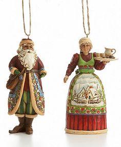 Jim Shore Christmas Ornaments, Set of 2 Santa and Mrs. Claus