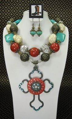 Western Cowgirl Necklace Set / Open Cross by CayaCowgirlCreations, $63.50