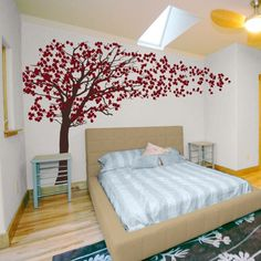 Tree Wall Decals Wall Stickers & Cherry Blossom Tree - Blowing in the Wind Wall Decal Sticker Graphic ...