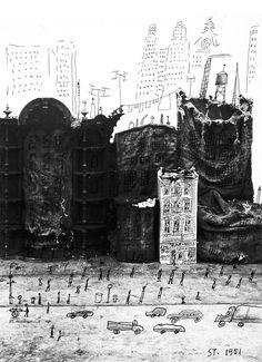 SAUL STEINBERG, JUNK STREET, 1951