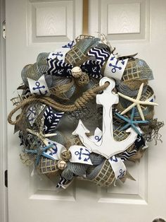Nautical Wreath Anchor Wreath Beach House by ItsAlwaysSunnyInStL
