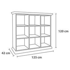 Módulo 9 estantes 125x42x120 cm Paris blanco