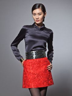 Shantung silk embroidered skirt By Shanghai Tang