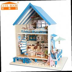49.34$  Watch now - http://alib89.worldwells.pw/go.php?t=32481502079 - Home Decoration Crafts DIY Doll House Wooden Doll Houses Miniature DIY dollhouse Furniture Room LED Lights Gift A-018 49.34$
