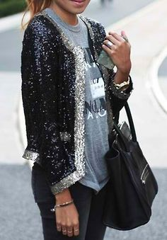 dress up a casual outfit with sequin jacket