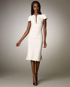 Stretch Split V-Neck Dress by Zac Posen at Neiman Marcus.