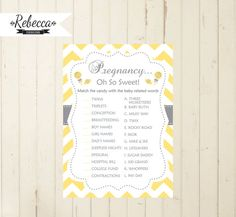 BABY SHOWER PRINTABLE GAME OH SO SWEET    You will receive DIGITAL FILES ready to print. No physical item is sent. We customize it for you so