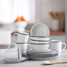 16-Piece Cafe Stripe Dinnerware Set, Service for 4 - Black: Kitchen & Dining