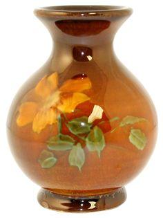 Owens Pottery Utopian Wild Rose Cabinet Vase Shape 862