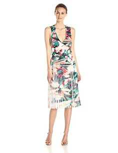 Nicole Miller Women's Pleated Flora Tropica X Back Dress, what floral dress to wear now, how to look good this summer, where to buy designer dresses