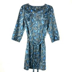 bab6de817c1b Express Women's size S Button Down Dress Shirt Animal Print Blue 3/4 Sleeve  40K