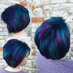 Peacock hair! Blue purple and a little green!