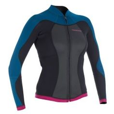 TOP NEOPRENO Mujer ML 500 Azul Female Surfers, Bleu Rose, Windsurfing, Kayaking, Long Sleeve, Wetsuit, How To Wear, Menorca, Sports
