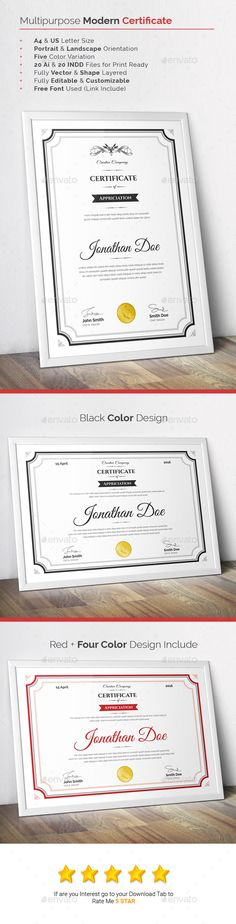 Multipurpose Modern Certificate Template - Certificates Stationery