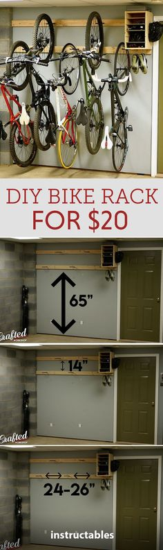 DIY Bike Rack for 20 Bike Storage Stand Cabinet for Garage Looking for a cheap and easy DIY bike rack This rack requires nothing more than a drill and a few some bike hooks and a handful of screws. For measurements and more check the video Woodworking Projects Diy, Woodworking Plans, Diy Projects, Project Ideas, Woodworking Furniture, Furniture Plans, Kids Furniture, Bike Storage Stand, Bike Storage In Garage