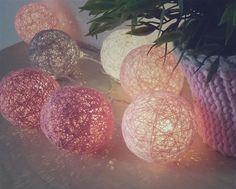 • www.facebook.com/wloczy.sie •  Handmade cotton ball lights/ spring/ Home decor