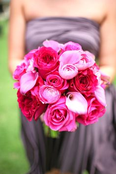 pink garden roses, calla lilies bridal bouquet