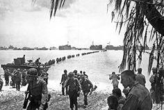 Allied invasion force landing on Saipan beach