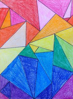 Fourth graders are learning all about triangles so we are INTEGRATING and doing some awesome triangle art. I found a triangle art lesson HERE and adapted it for use in a fourth grade classroom. 4th Grade Art, Fourth Grade, Grade 2, 4th Grade Crafts, Math Crafts, Third Grade, Doodle Drawing, Triangle Art, Arts Integration