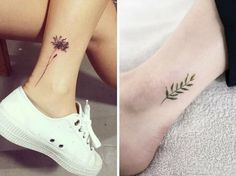 un motif discret pour un tattoo de cheville #tattoo #feuille #fleur #tatouagecheville #monvanityideal Tattoo Feminina, Ankle Tattoo, Couple Tattoos, Small Tattoos, Tatoos, Henna, Piercing, Body Art, Tattoo Designs