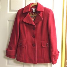 Cabi red coat Size 4. Worn prob 10x. Small spot on back not sure what happened but long hair would cover. CAbi Jackets & Coats Pea Coats