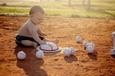 First birthday photography pictures. Baseball First Birthday, Baby Boy Baseball, Boys First Birthday Party Ideas, 1st Birthday Pictures, 1st Birthday Cake Smash, Birthday Themes For Boys, Half Birthday, 1st Boy Birthday, 6 Month Baby Picture Ideas Boy