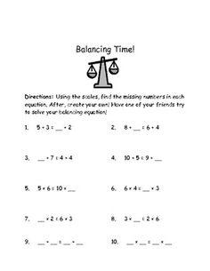 Balancing Equations Missing Addend, Addition