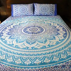 Ombre mandala quilt cover  2 matching by TheFoxAndTheMermaid