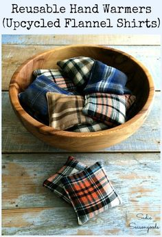Repurpose flannel shirts from the thrift store into economical, reusable, and reheatable hand warmers with this wonderful DIY tutorial from Sadie Seasongoods! No chemicals, no waste, and are a great way keep cozy during the cold fall and winter months. Fill a bowl with them for a cozy, decorative touch, as well! Find all the how-to details at www.sadieseasongoods.com . #upcycled #flannel #flannelshirt #plaid #autumndecor #hygge #autumn #repurposed