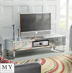 Mirrored Tv Cabinet Stand Media Unit For Flat Screen Small Large 3 Drawers