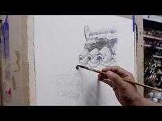 2 기와담장 표현하기 - YouTube Watercolor Cards, Watercolor Paintings, Watercolors, Canvas Paper, Watercolour Tutorials, Bob Ross, Asian Art, Art Tutorials, Art Lessons