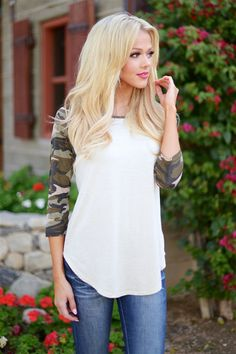 Step Up Your Game Camo Raglan Top- Oatmeal from Closet Candy Boutique #fashion #ootd #spring