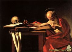 San Jerónimo en su estudio, 1604-1605;  se aparta del modelo de santo leyendo que había creado Durero, prevalece el sentido de ascetismo y renuncia del sabio. Predomina el estoicismo, lo efímero de nuestras posesiones. Cadavera una protagonista más.