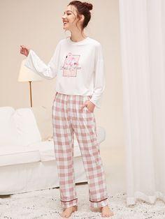Shop for Flamingo Print Top & Plaid Pants PJ Set by Shein at ShopStyle. Loungewear Outfits, Pajama Outfits, Pijamas Women, Cute Sleepwear, Night Suit, Cute Pajamas, Home Outfit, Plaid Pants, Pj Sets