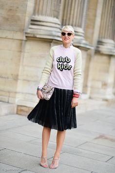 love that jumper/skirt combo. #ElisaNalin in Paris.