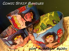 Diy::Upcycled Comic Book & Plastic Bottle Bangle Bracelet::oh! rubbish! blog::