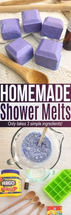 This shower melts recipe is an easy DIY using simple ingredients at home. If you are curious how to use essential oils in the shower this shower melts DIY is a great recipe to try! #homemadegifts