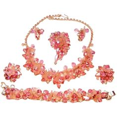 Vintage Juliana Pink Dangling Necklace Bracelet Brooch Earrings Frosted Petals Rhinestones Crystals