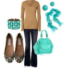 """""""Brown+Turquoise"""" by honeybee20 on Polyvore"""