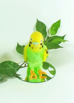 Needle Felted Green and Yellow Parakeet Soft Sculpture - pinned by pin4etsy.com