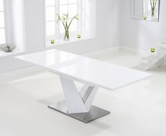 Harmony 160cm Extending White High Gloss Dining Table